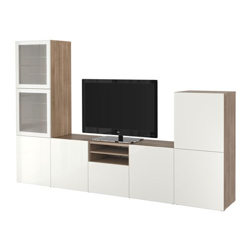 BESTÅ TV storage combination/glass doors - walnut effect light gray/Selsviken high-gloss/white frosted glass, drawer runner, soft-closing - IKEA