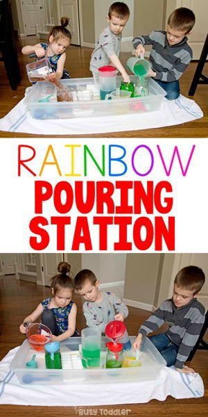 Rainbow Pouring Station Kids Activity - Busy Toddler in ...