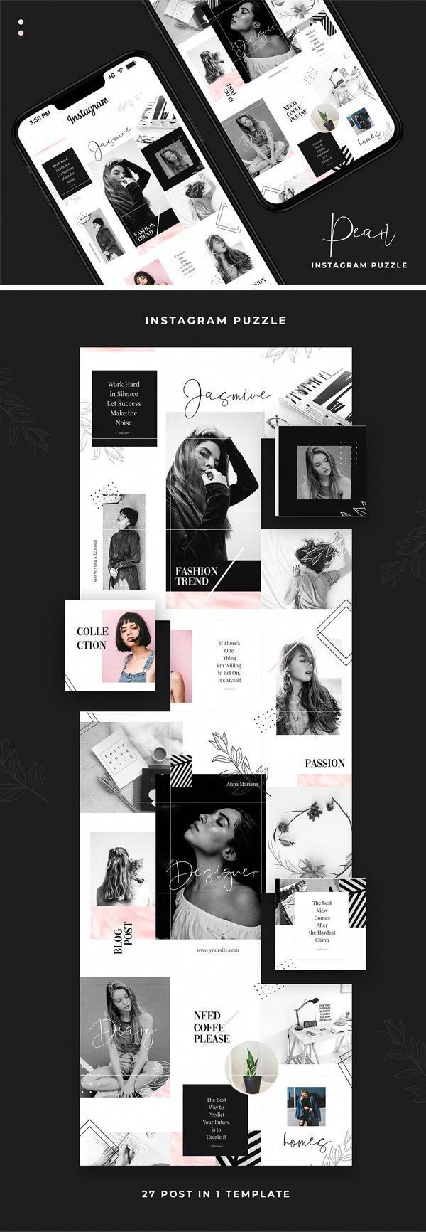 Pearl Instagram Puzzle Template  inspired by noir theme with modern feel and touch will make your profile standing out