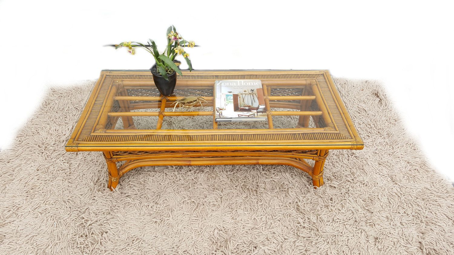 Bamboo Coffee Table Glass Top Woven Rattan Wicker Table Mid