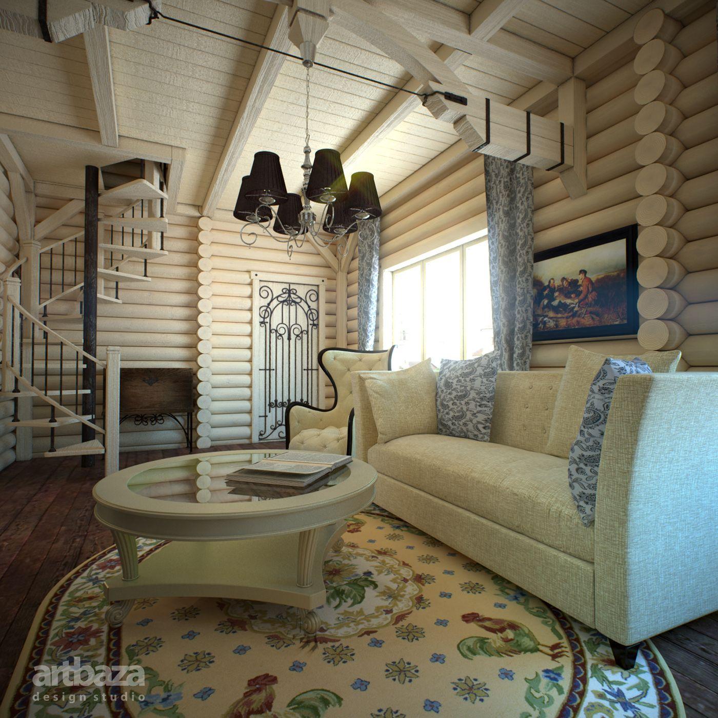 интерьер в бревенчатом доме фото