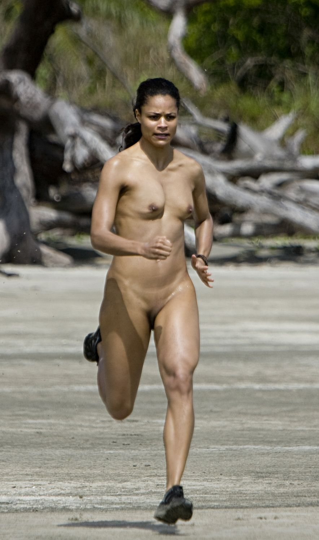 Mature naked jogging