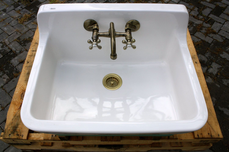 Vintage Style High Back Farm Sink Original Porcelain Finish Kitchen Utility Sink Ebay Sink Utility Sink Farm Sink