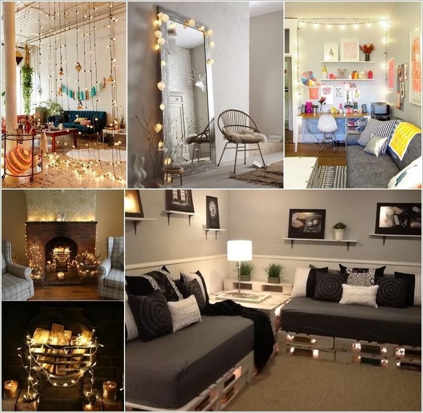 Decorate your living room with string lights fav - Pictures of interior design living rooms ...