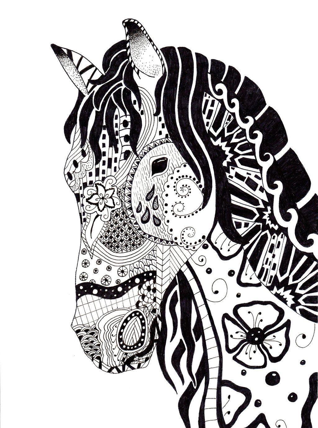 Dessin cheval id es pour la maison pinterest dessin - Mandala de chevaux ...