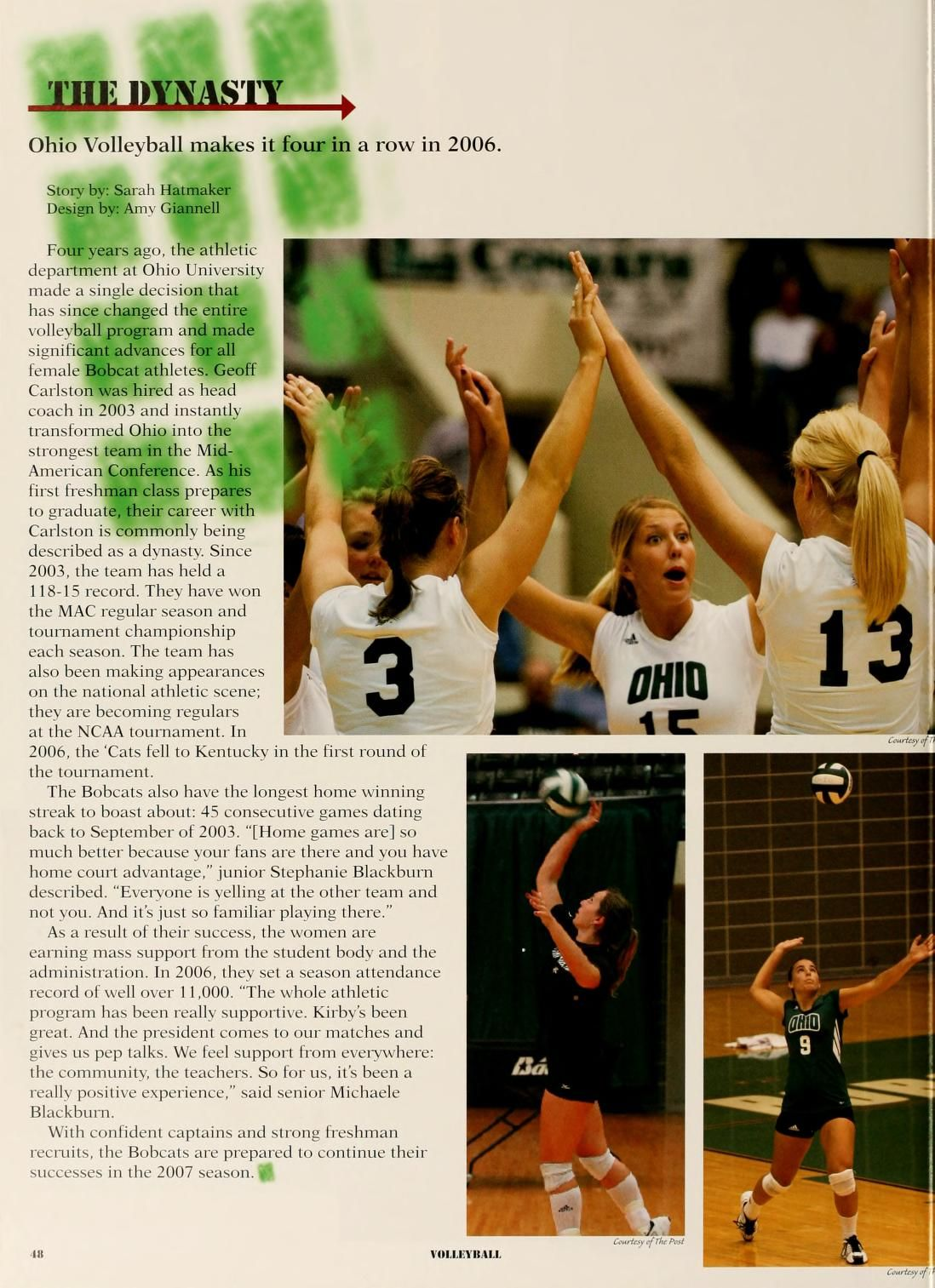 Athena Yearbook 2007 The Dynasty Ohio Volleyball Makes It Four In A Row In 2006 Ohio University Archives Ohio University University Ohio