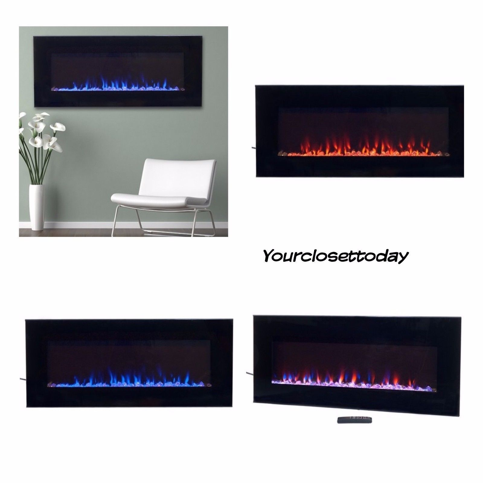 Nw Modern Black Electric Fireplace Led Blue Flame Glass Remote