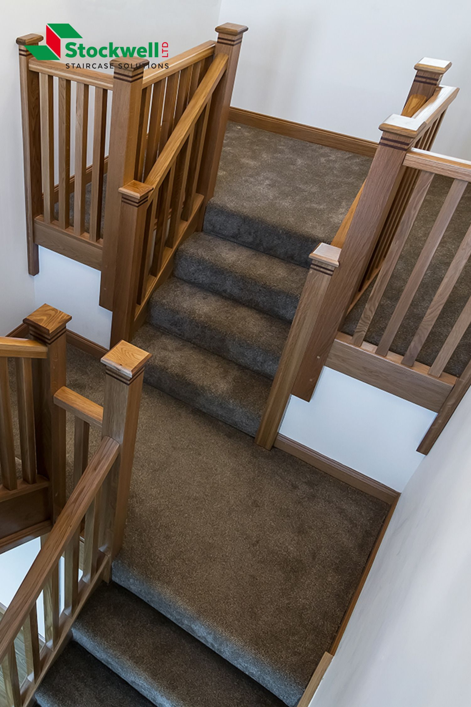 Best A Fully Carpeted Dogleg Staircase With A Feature Wrap 400 x 300