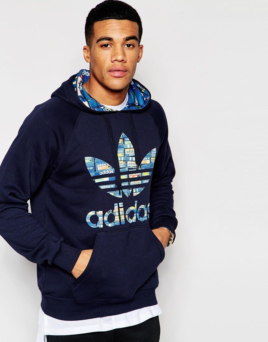 new style 81137 3f4e1 Adidas Originals navy blue with multicolor shoebox print hoodie