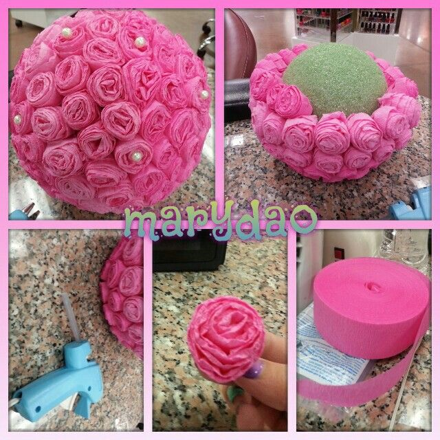 Flower ball diy center piece decoration craft for Baby shop decoration ideas