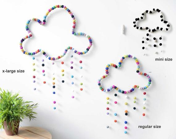 Cloud Mobile. X-LARGE Mobile Baby Nursery. Chambre des enfants. Décor de bébé. Mobi coloré …