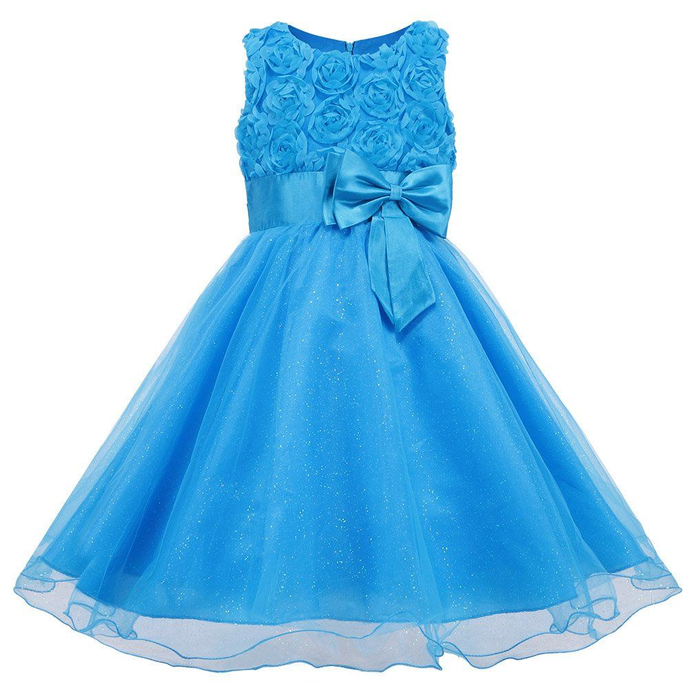 HUANQIUE Girl Lace 3D Flower Girl Dresses Wedding Party Princess ...