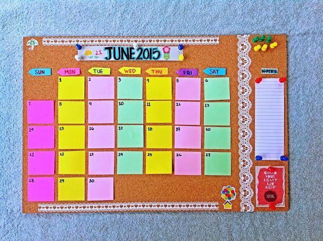 Paper Invader Diy Cork Board Calendar Quadro De Lembretes