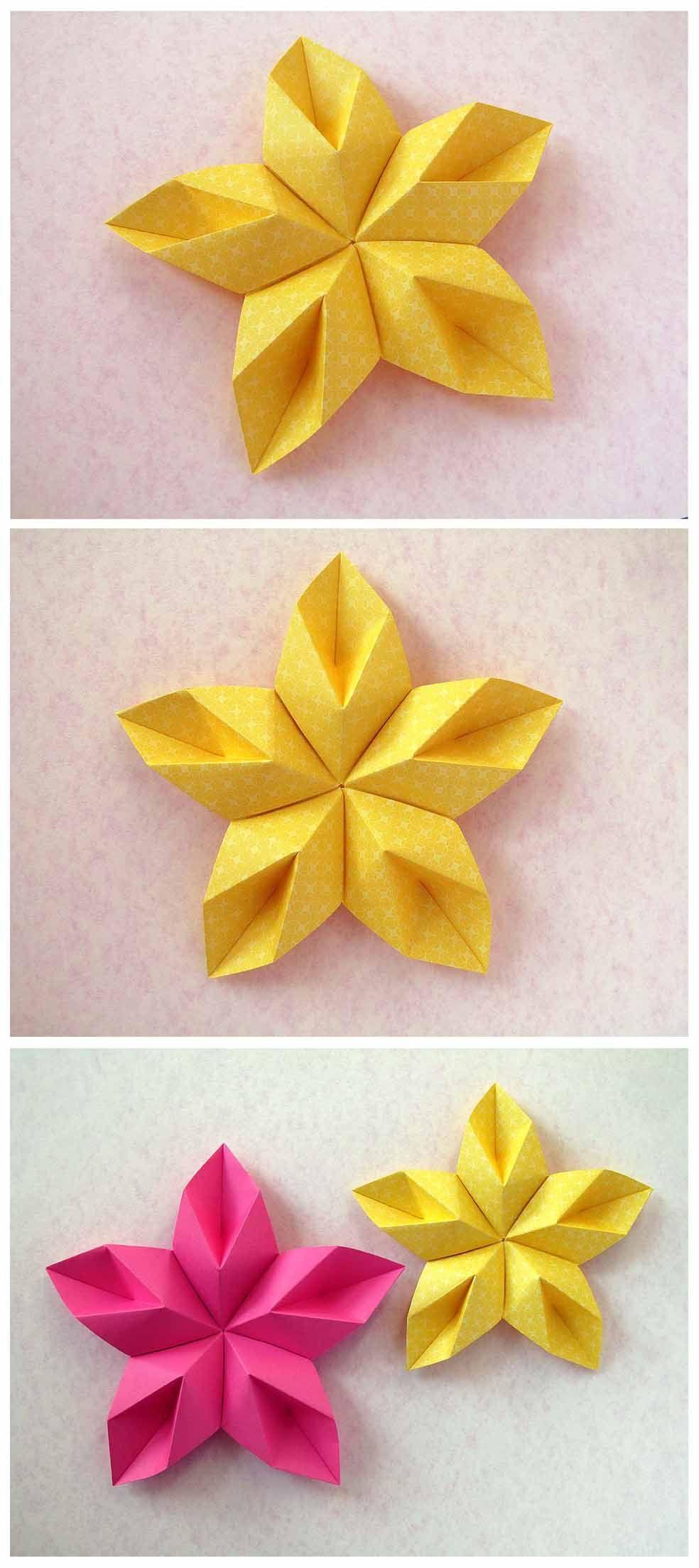 Modular origami: Stella floreale - Floral Star by Francesco Guarnieri #fleursentissu