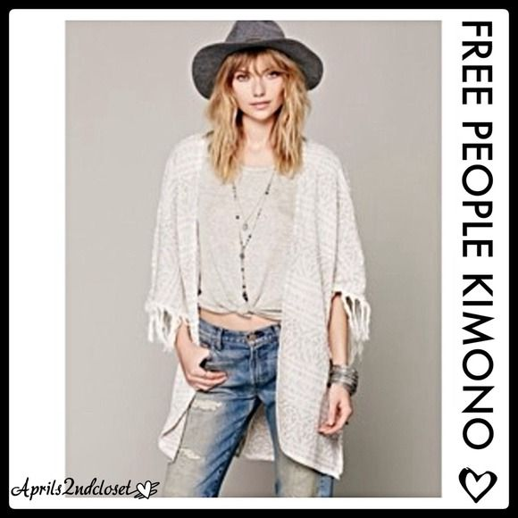 "Selling this ""FREE PEOPLE KIMONO CARDIGAN WITH FRINGE TRIM"" in my Poshmark closet! My username is: aprils2ndcloset. #shopmycloset #poshmark #fashion #shopping #style #forsale #Free People #Sweaters"