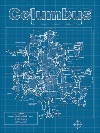 Columbus map original artwork columbus map art wall art columbus artistic blueprint map 3000 via etsy malvernweather