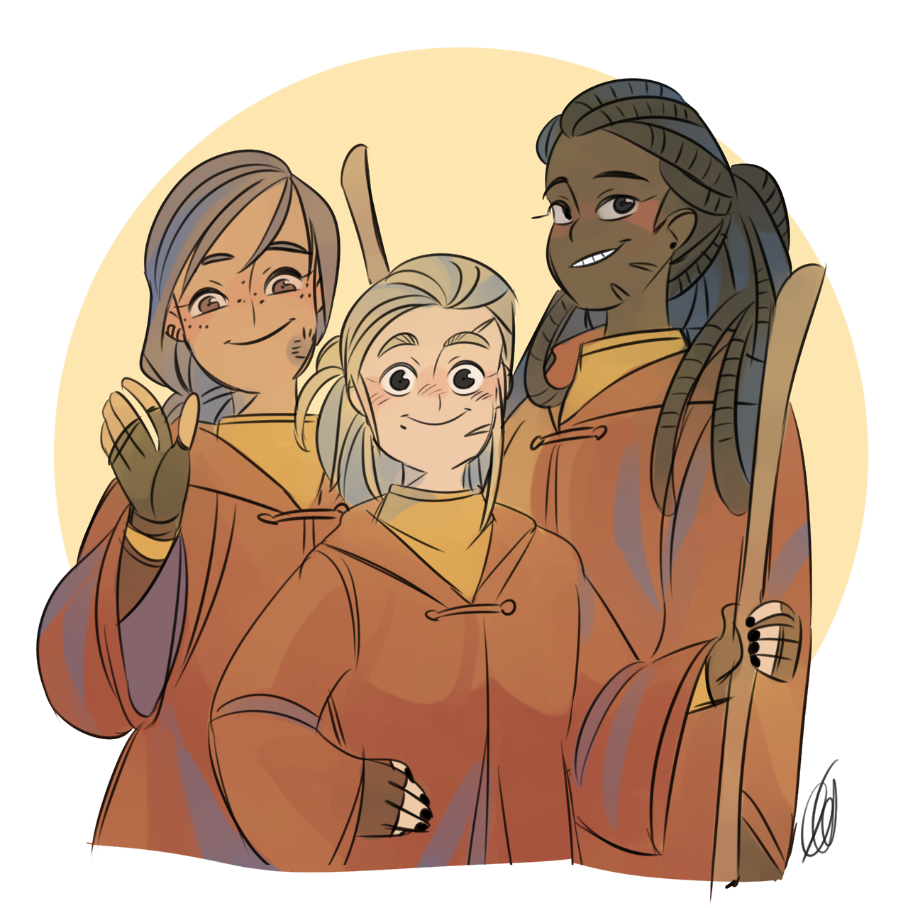 Alicia Spinnet Katie Bell And Angelina Johnson Harry Potter Art Harry Potter Drawings Harry Potter Universal