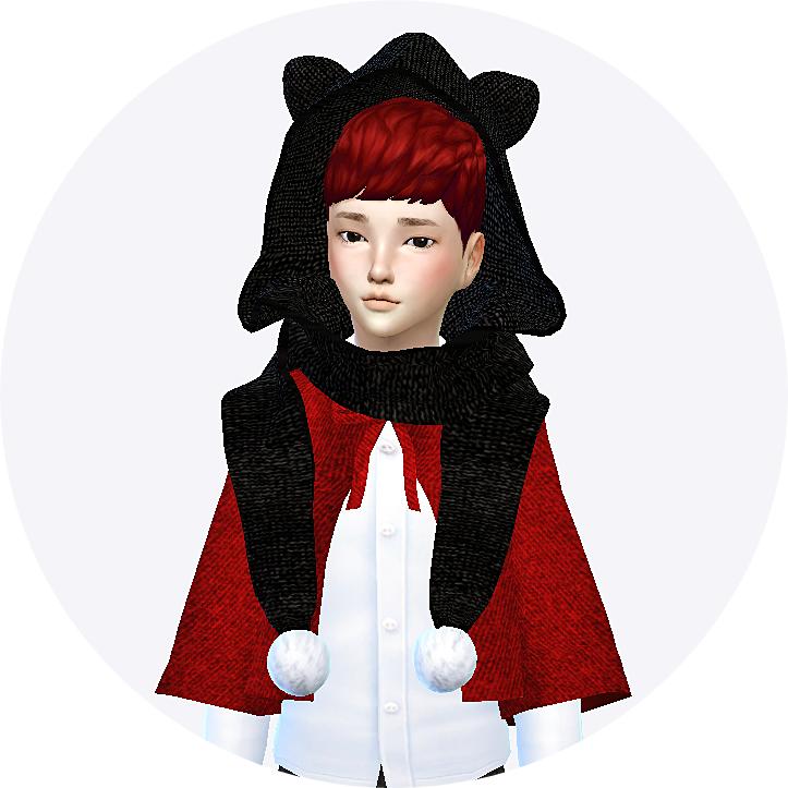 child_cat hood scarf_unisex_고양이 귀 달린 후드 목도리_남녀 어린이 목도리 - SIMS4 marigold