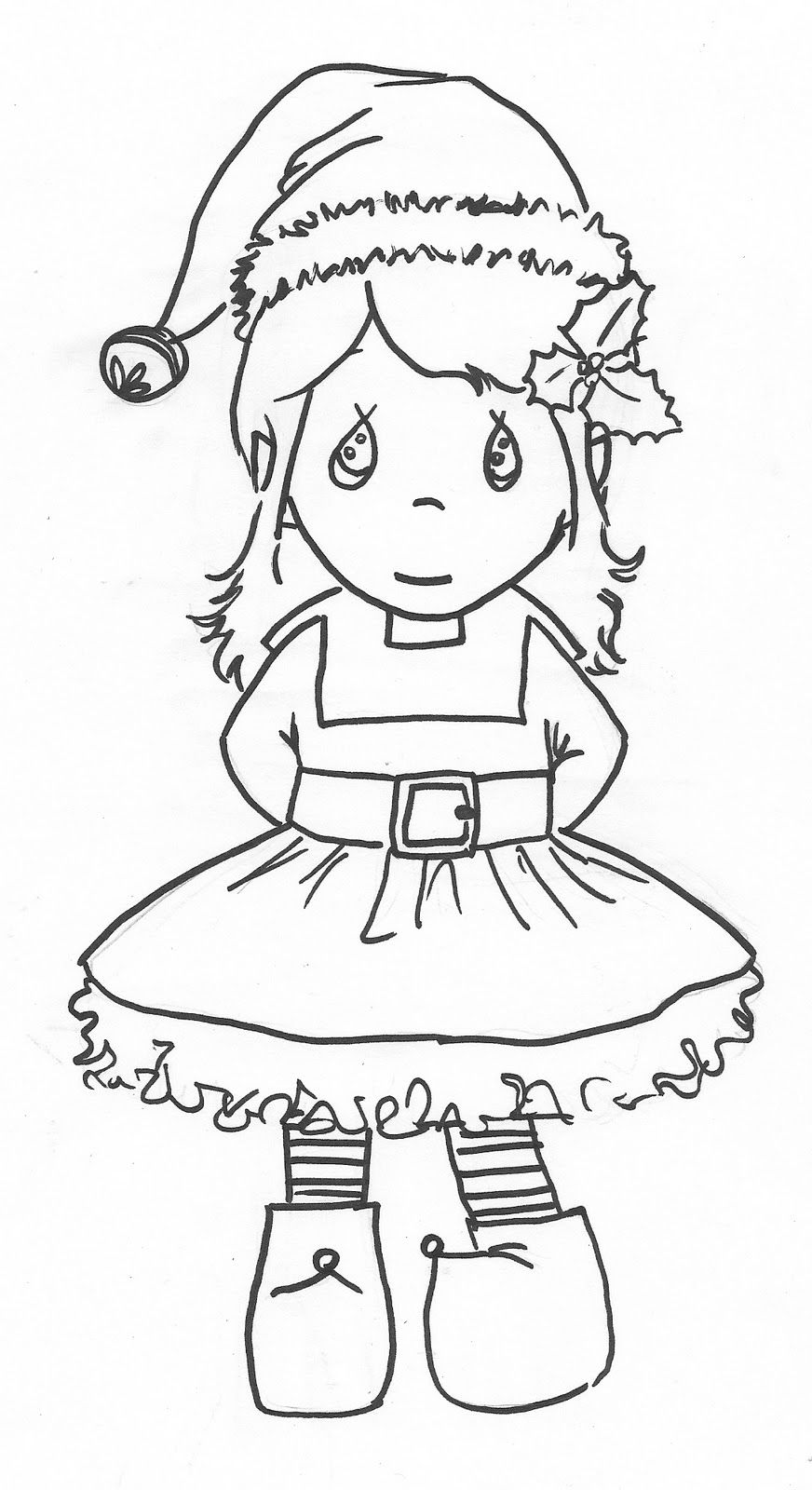 precious moments girl elf coloring page christmas