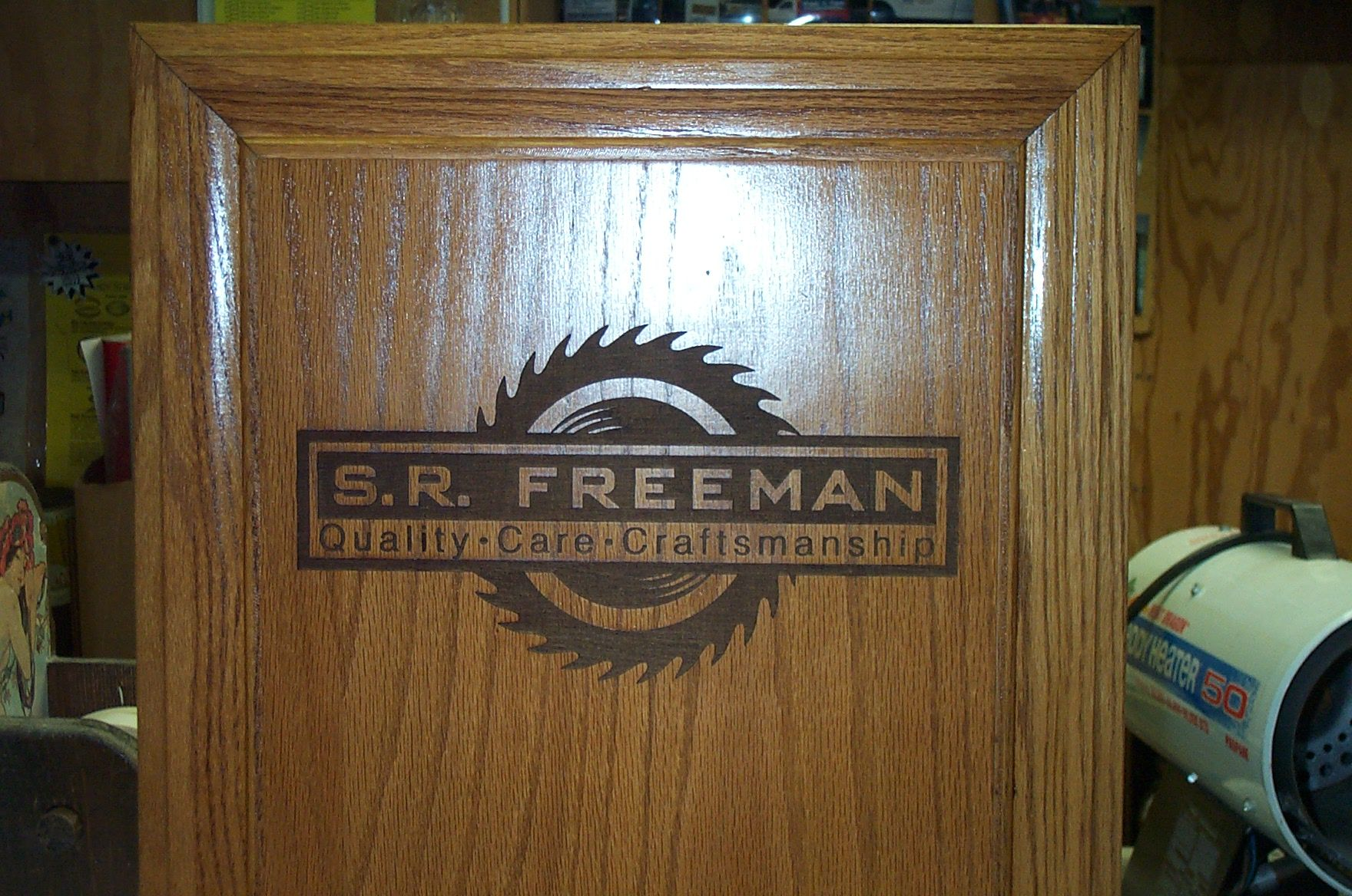 We can custom laser engrave Your company logo on your cabinet ...