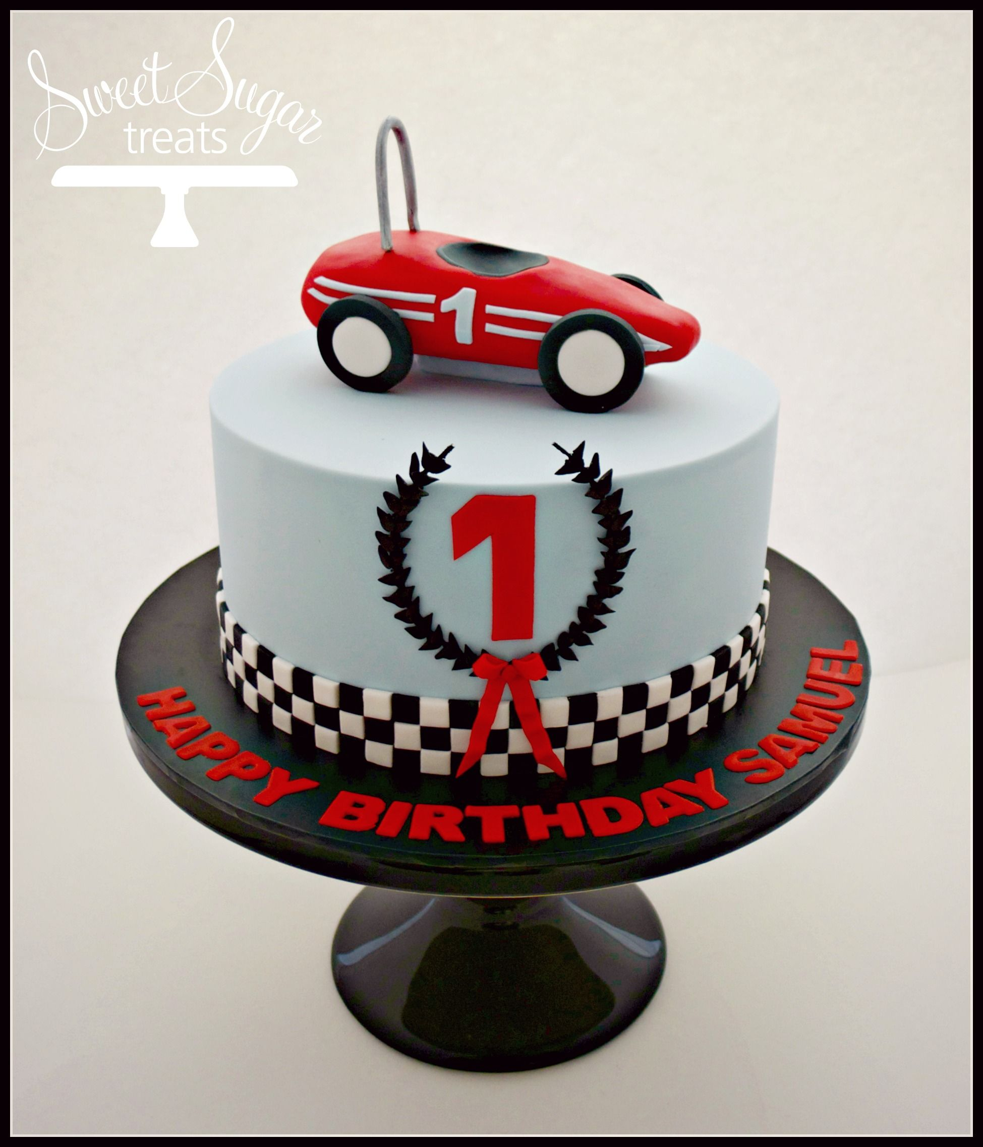 Cool Vintage Racecar First Birthday Cake In Blue And Red Cars Funny Birthday Cards Online Hendilapandamsfinfo