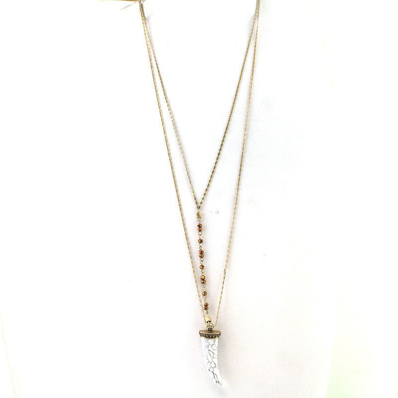 Double Layered Horn Pendant Long Necklace