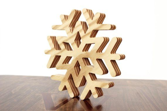 Large Wood Snowflake Ornament Wooden Snowflake Christmas Decoration