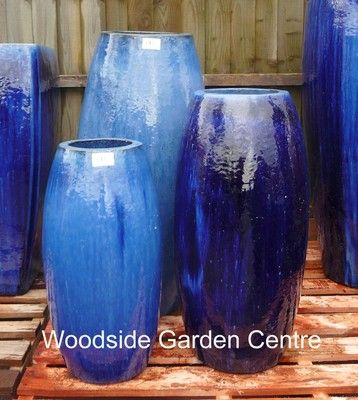 Extra Large Tall Glazed Blue Toggle Pot Planter Woodside Garden Centre Pots To Inspire Woodside Garden Centre Large Outdoor Planters Large Planters