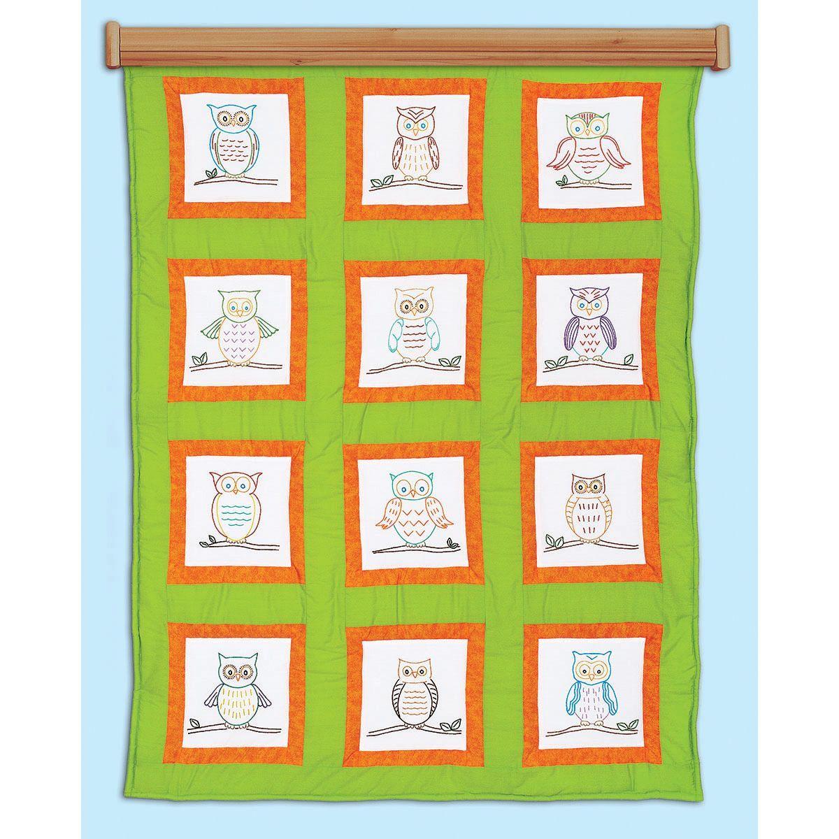 Jack dempsey themed stamped quilt blocks 9x9 12pkg owls new quilt patterns owls prestamped quilt blocks bankloansurffo Image collections