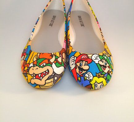 Heels made with Super Mario Brothers Fabric