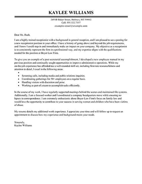 Receptionist Cover Letter Example   Executive:  Receptionist Cover Letter Examples