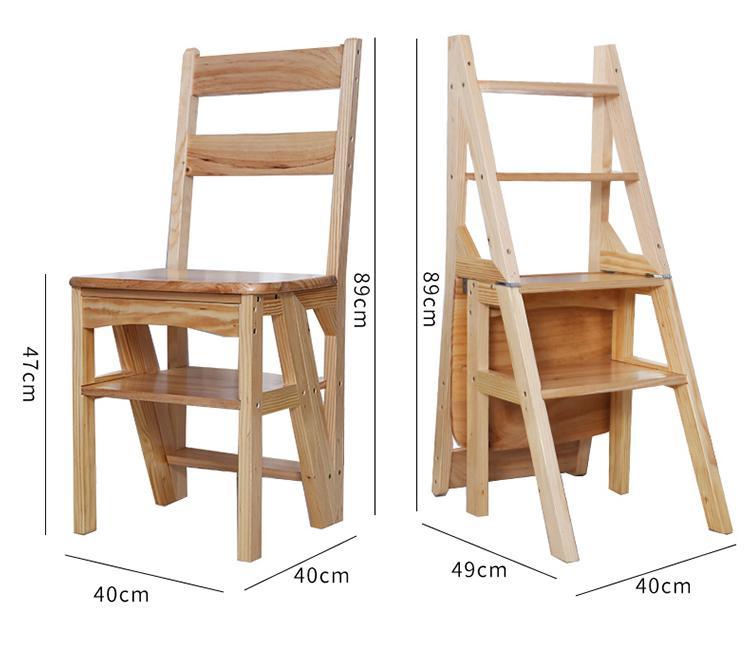 Solid Wood Folding Ladder Household Folding Stair Chair Full Solid Wood Ladder Chair Dual Use Step Ladder Wooden Ladder Chair Wooden Ladder Ladder Chair Folding Ladder