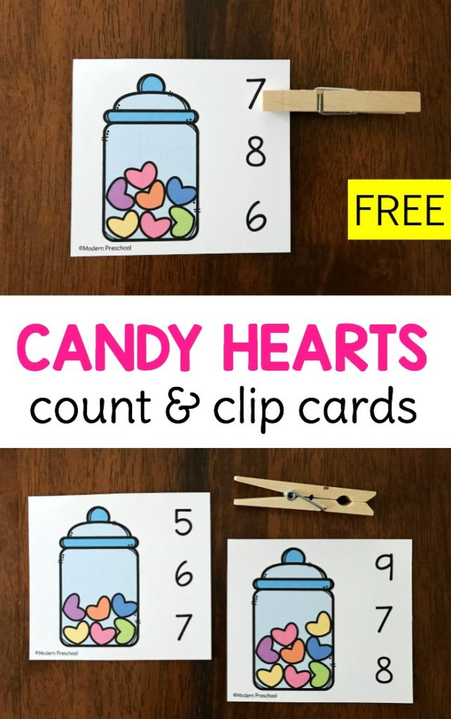 FREE printable Candy Hearts Count  Clip Cards for Valentines Day in preschool using the numbers 010 to practice 11 correspondence counting number recognition and fine mot...