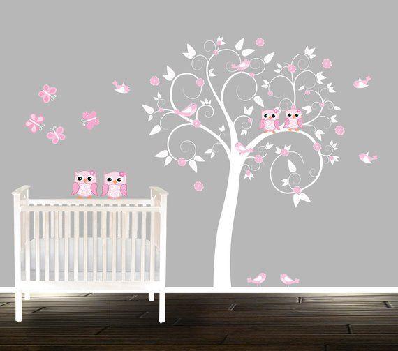 S Pink Nursery Decal Erflies Birds Owls Tree