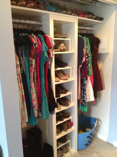 How To Replace A Standard Metal Closet With A Custom Closet System Made  From An IKEA Expedit   A Great Simple Inexpensive Hack For A Custom Closet  System!
