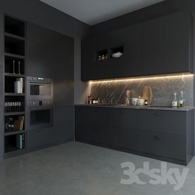 3d Models Kitchen Ikea Kungsbacka Black Kitchens Black Ikea
