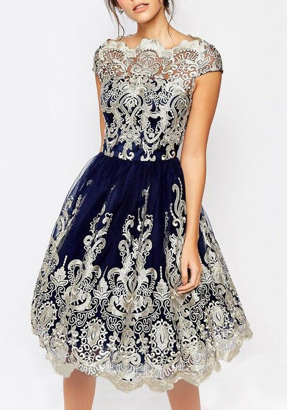 56fd5145b7eb Navy Blue And Silver Floral Lace Embroidery Grenadine Cute Prom Tutu Dress
