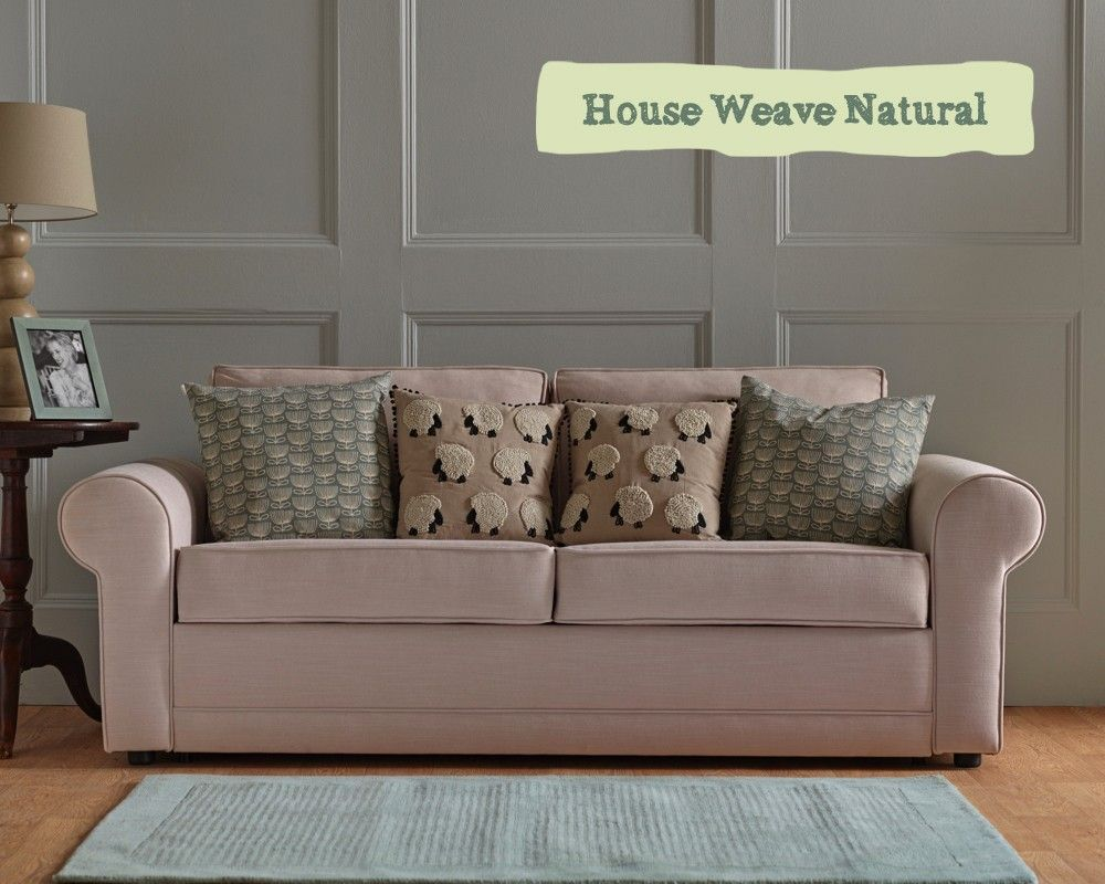 Hoy Sofa Bed in House Weave Natural Fabric perfect for