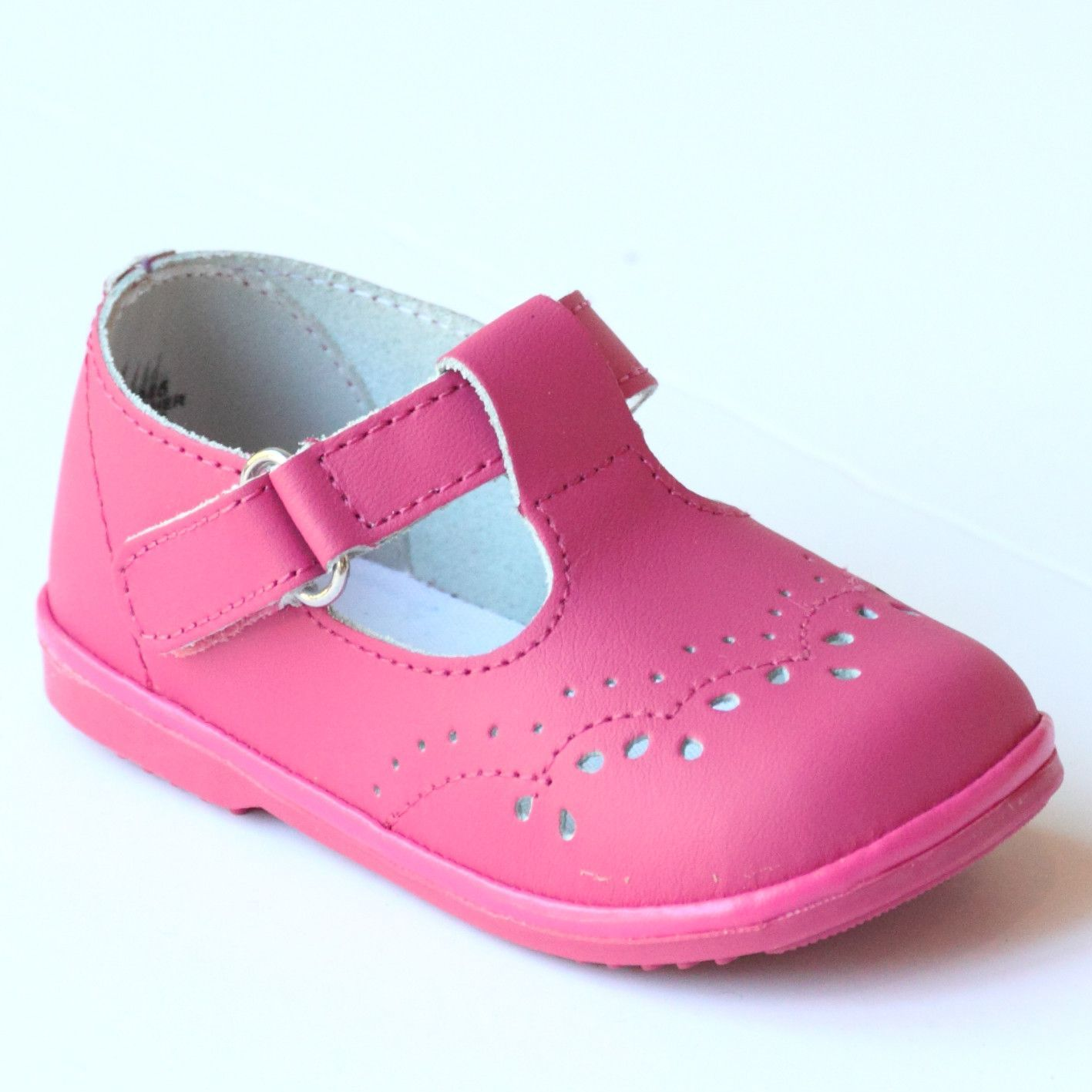 423a5d5fa76cd Angel Baby Girls Fuchsia Leather T-Strap Mary Janes