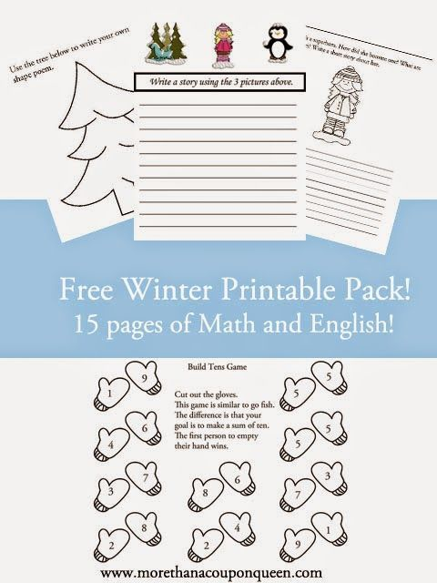 Free Winter Printable Pack | Math, Homeschool and English
