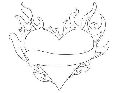 Flame Heart | Fire heart, Coloring pages, Heart drawing
