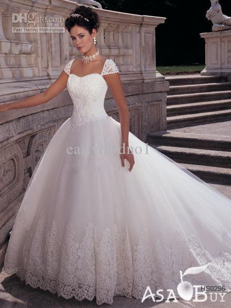 9e17a2fed94c Wholesale 2012 Sexy A Line Wedding Dresses Applique Lace Puffy Vintage Cap  Sleeves Chapel Bridal Gown HS0296