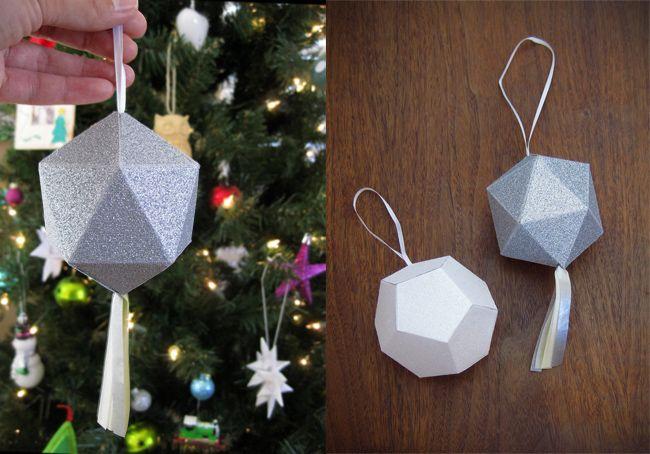 DIY Geometric Glitter Ornaments