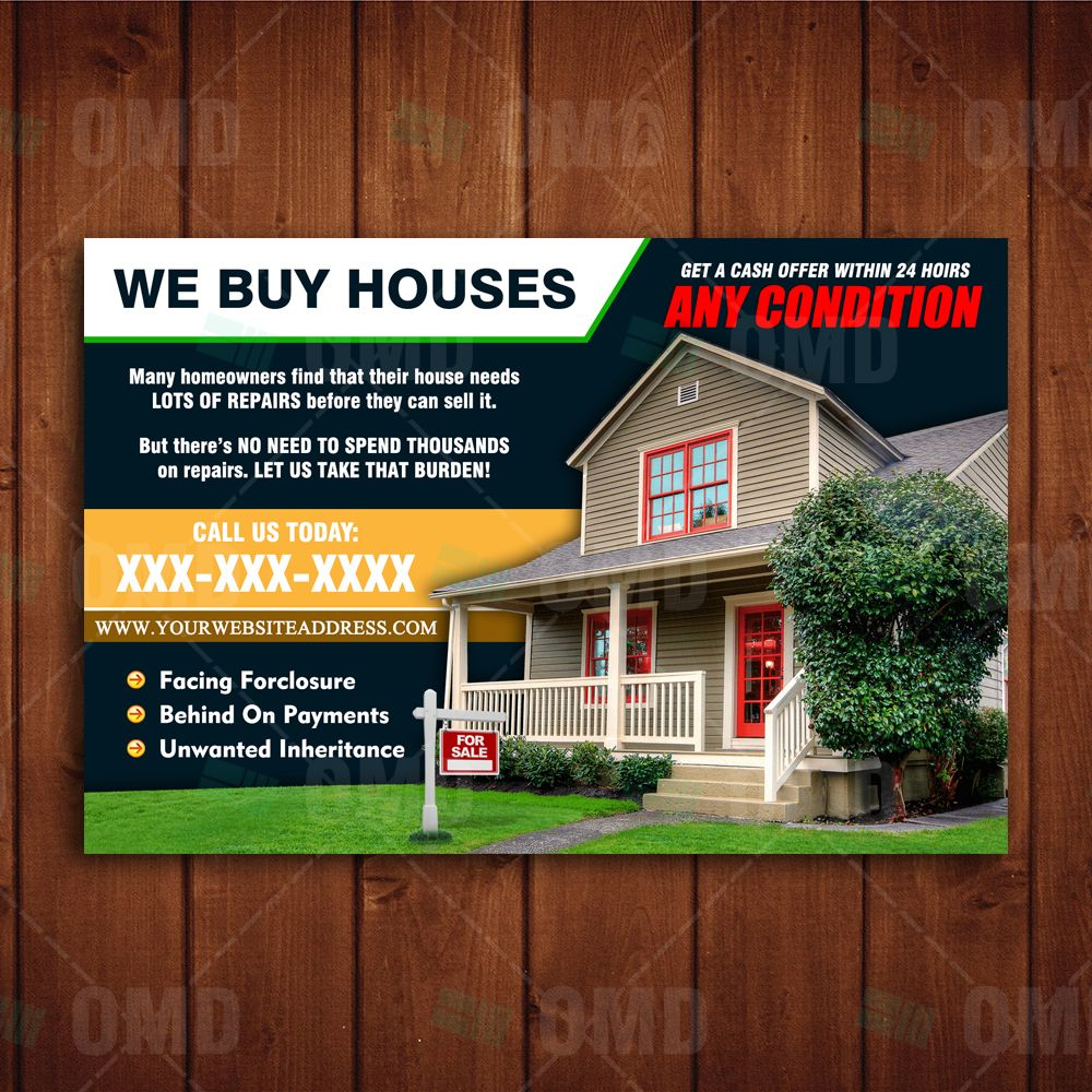 We Buy Houses Postcard 1 We Buy Houses Real Estate Marketing Design Selling Your House