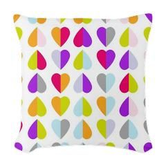 Colored Love Hearts Woven Throw Pillow > Colored Love Hearts > Allcolor