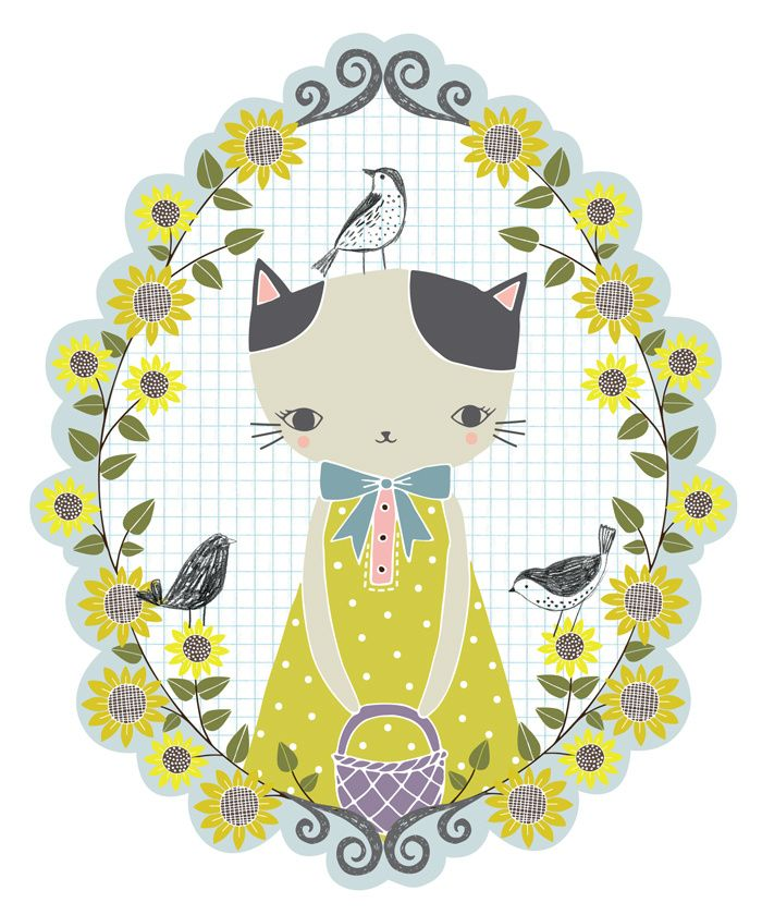 Summer cat - part of a wall decal set for The Land of Nod | Flora ...