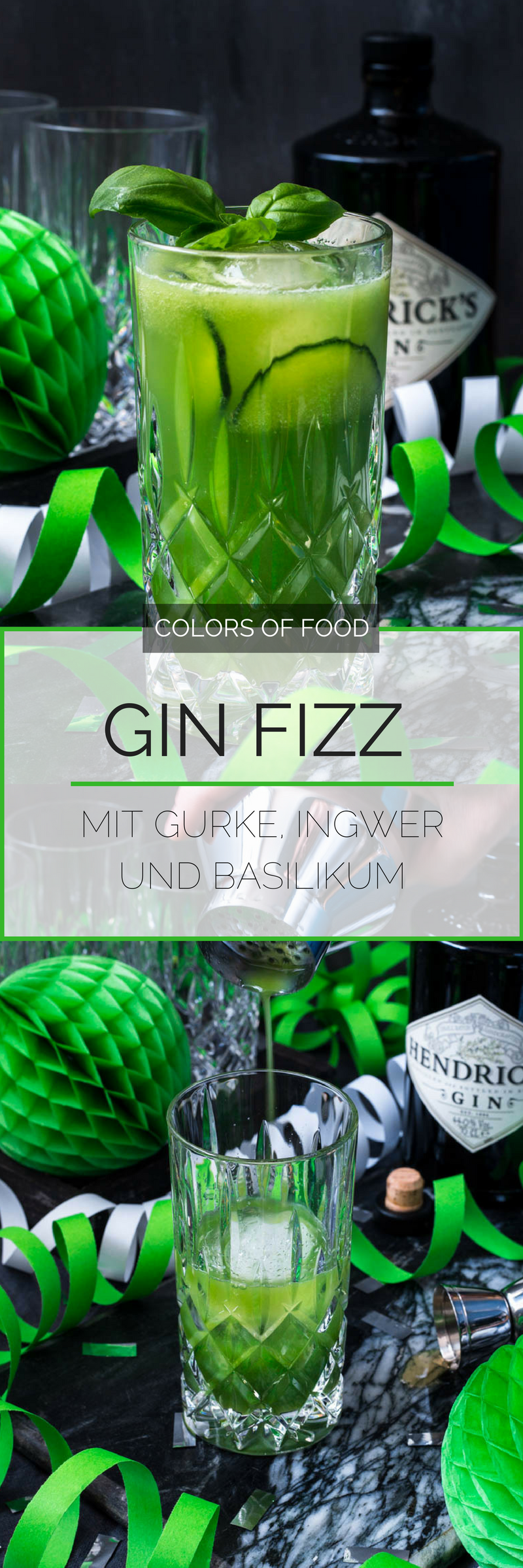Photo of Happy Blog Birthday: Gin Fizz with cucumber, ginger and basil