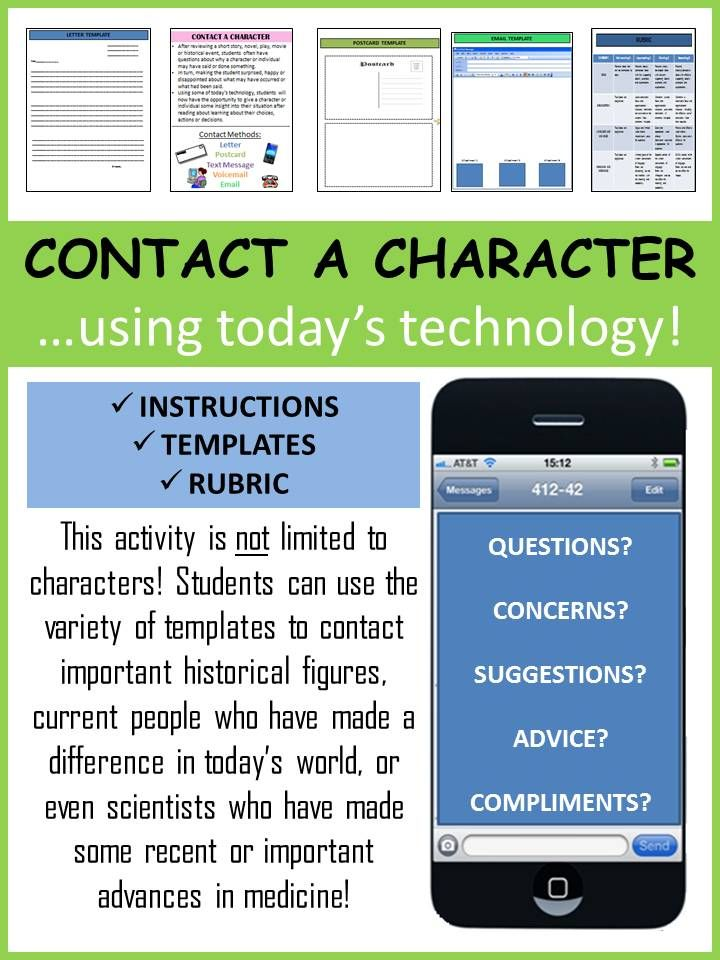 Contact A Character Today S Technology Teaching Education Teaching Reading