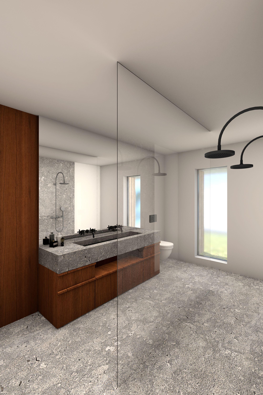 Badkamer met betonvloer, wit gestucte wanden, inloopdouche, en ...