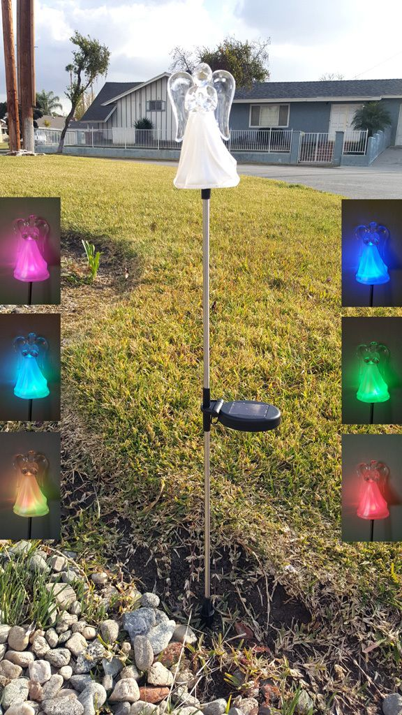 Angel Color Changing Solar Lights Solar Stake Lights Set Of 2 Solar Lights Solar Powered Led Lights Color Changing Led